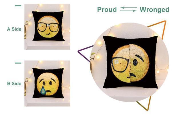 Magique taie d'oreiller avec emojis en paillettes
