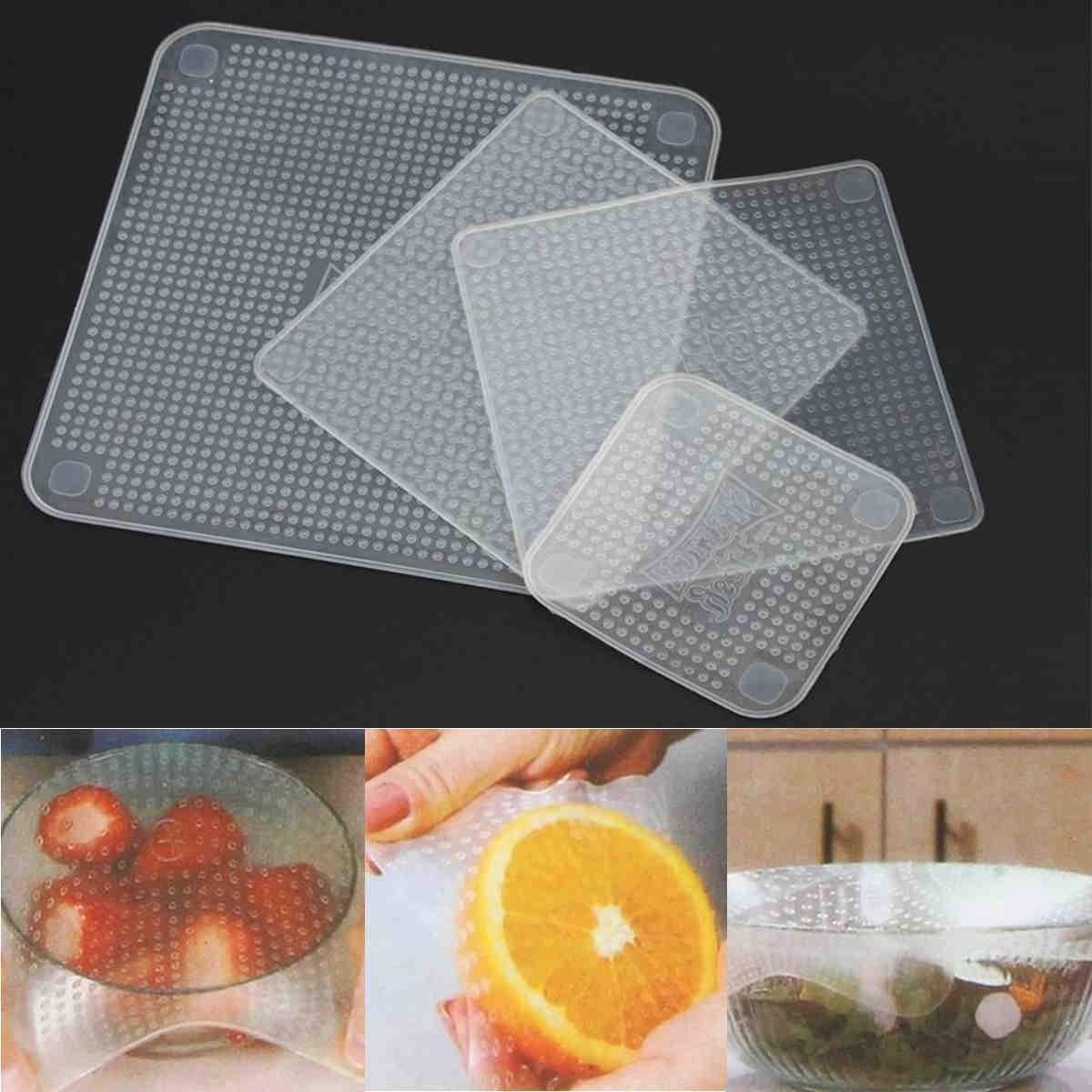 Super couverture alimentaire en silicone (4 pièces)